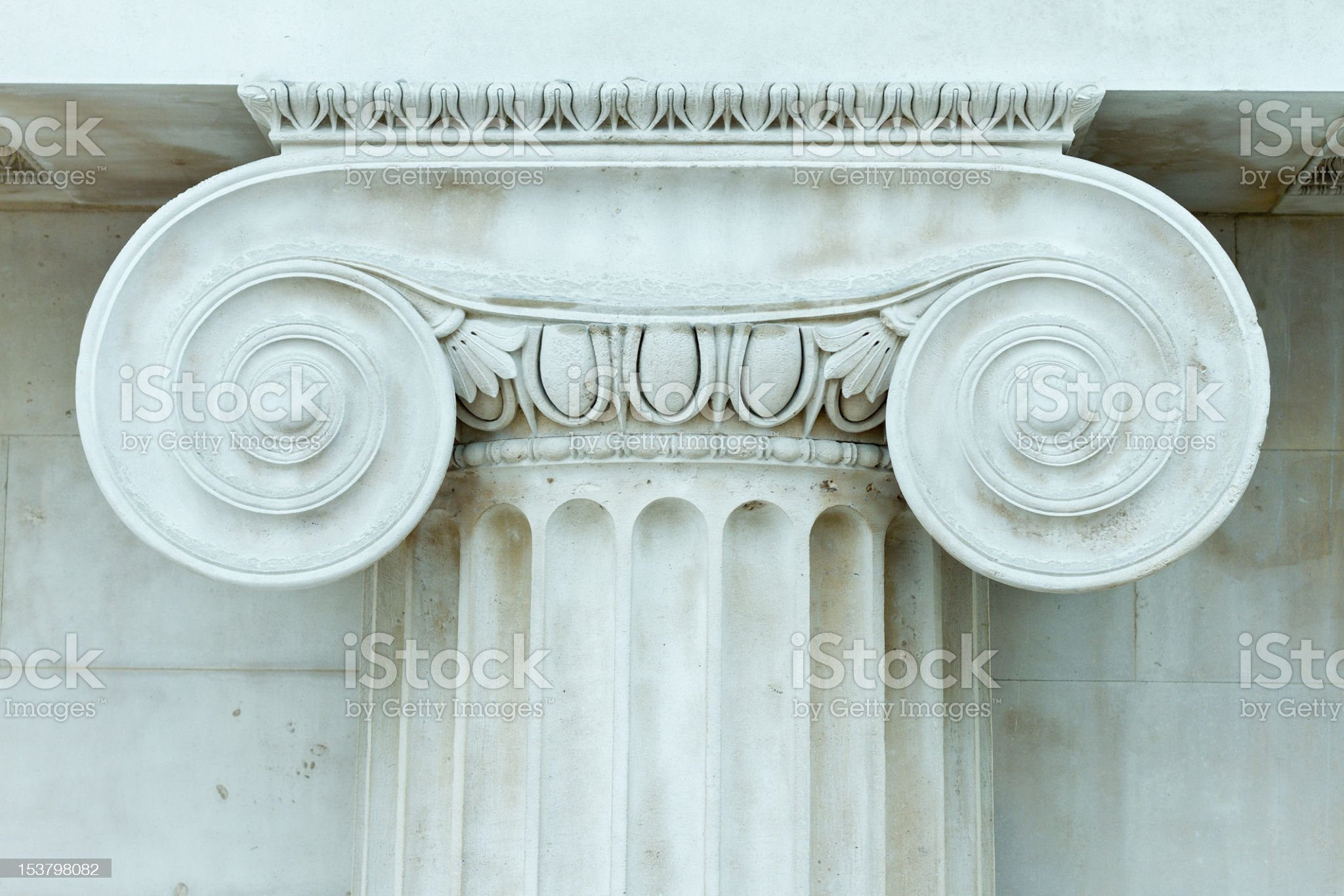 Ionic Pillar, Stone Wall royalty-free stock photo