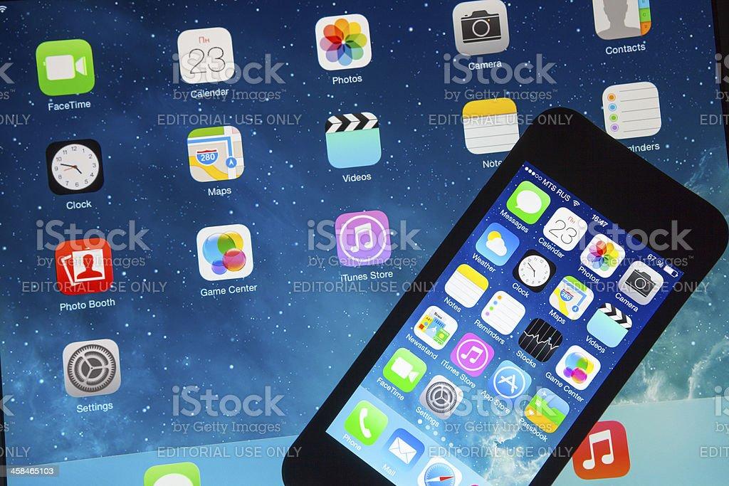 iOS 7 on iPhone and iPad stock photo