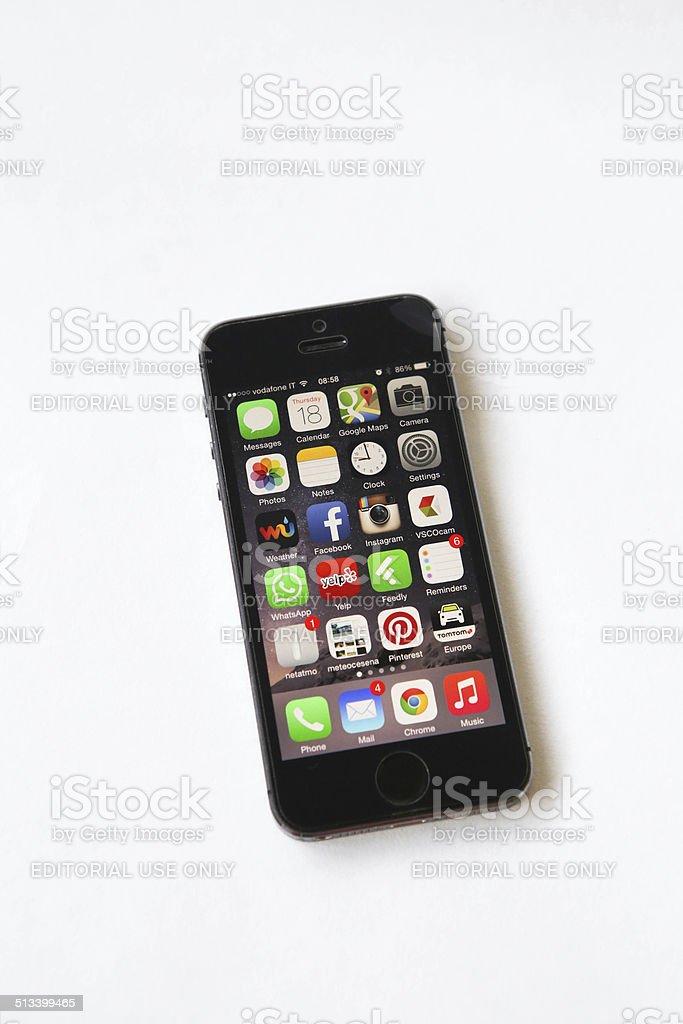 iOS 8 home screen royalty-free stock photo