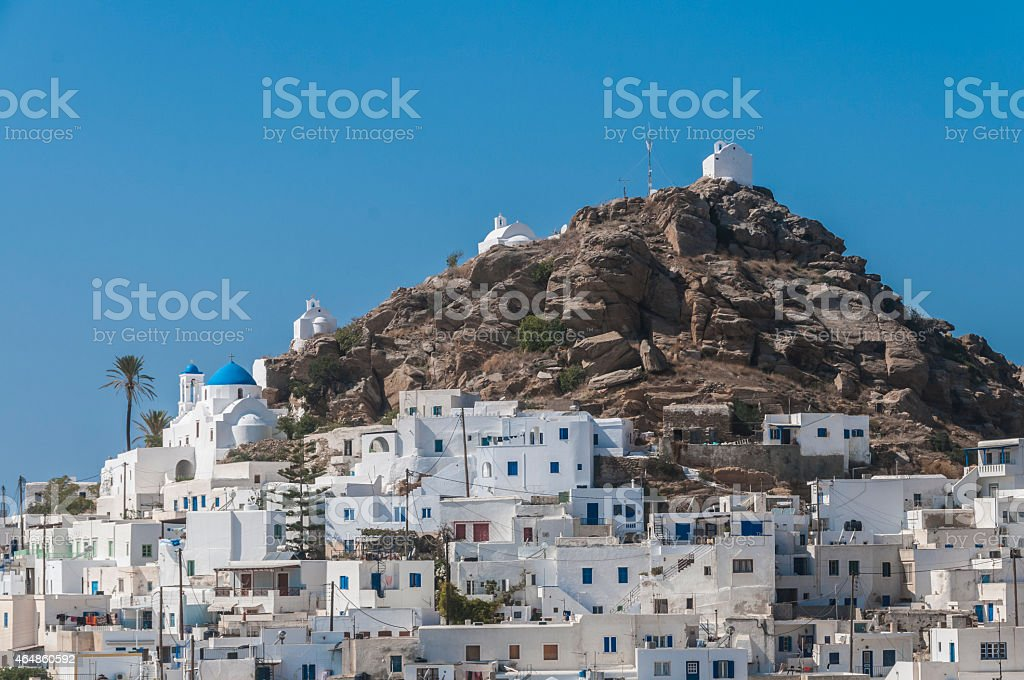 Ios Town (Chora). Traditional Cycladic architecture, Greek Islands, Greece stock photo