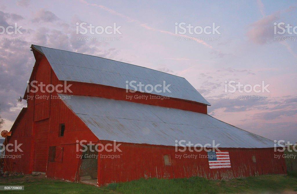 Iowa Barn Accents Iowa Sky at Sunset stock photo