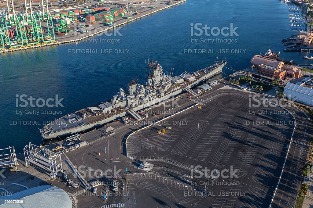 USS Iowa Battleship Museum Aerial stock photo