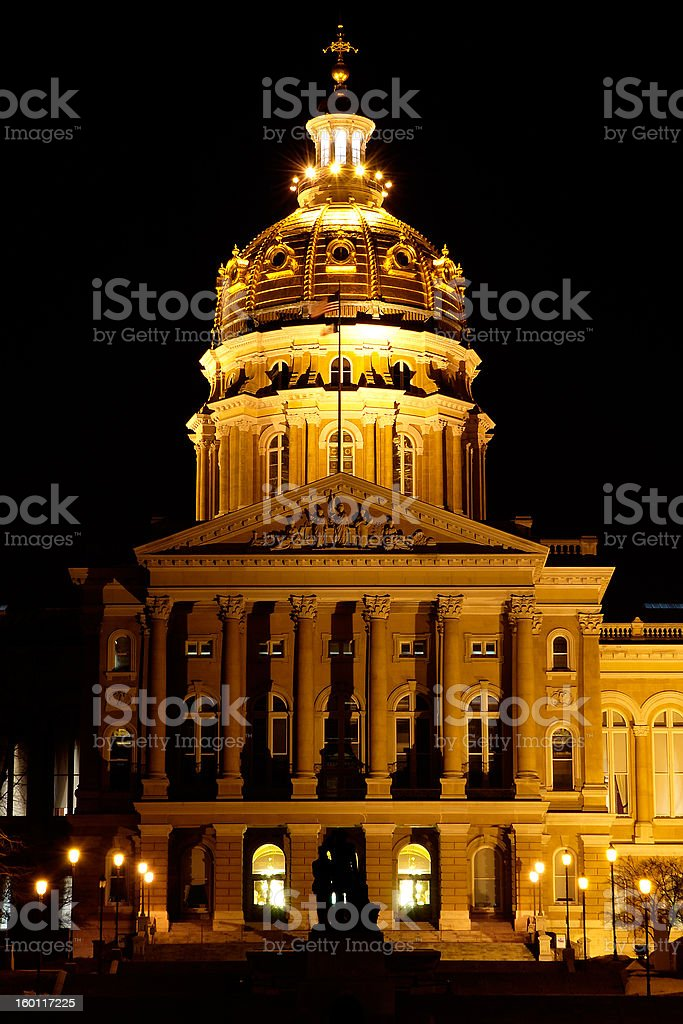 Iowa Capitol Building at Night royalty-free stock photo
