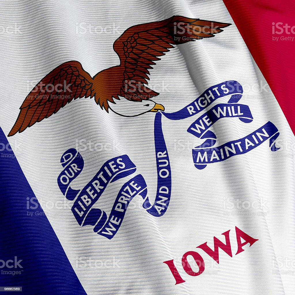 Iowa Flag Closeup royalty-free stock photo