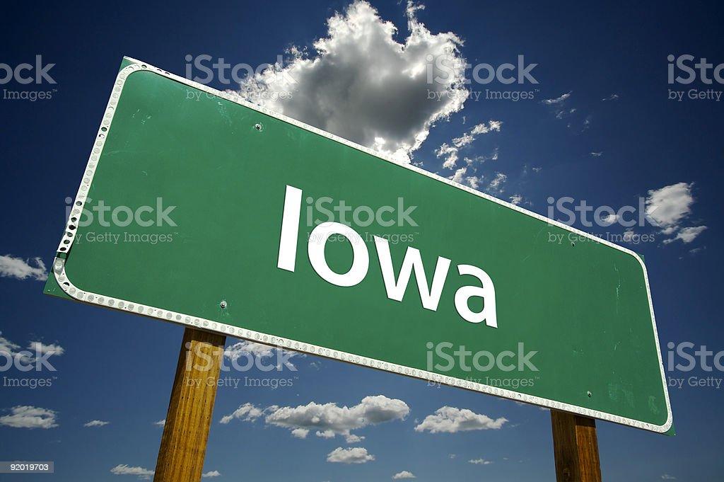 Iowa Road Sign stock photo
