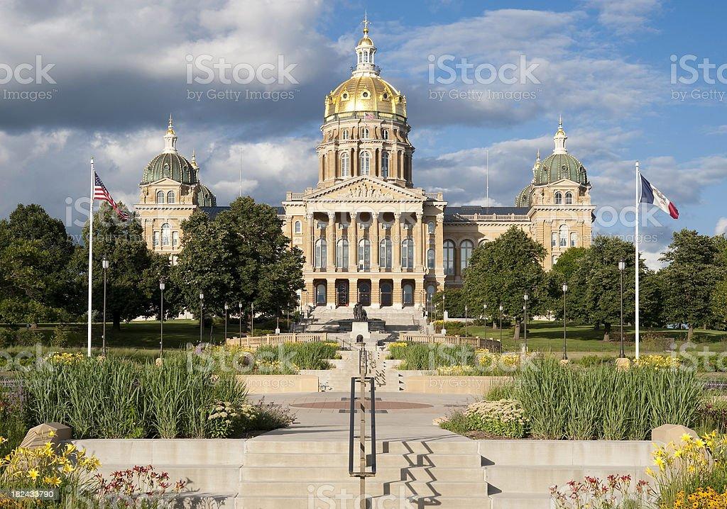 Iowa State Capitol and Gardens stock photo