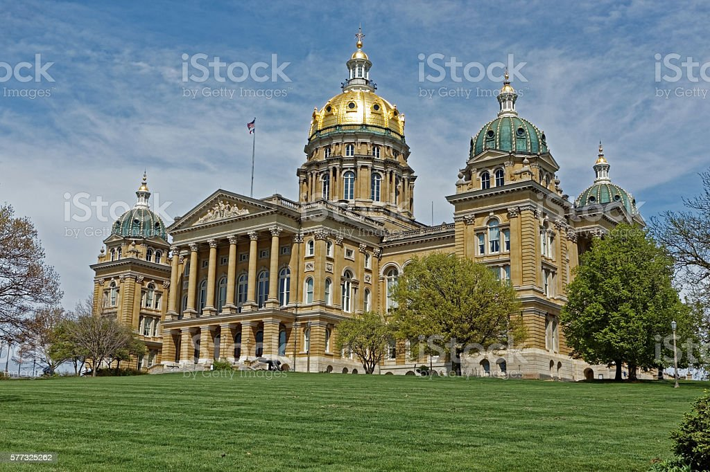 Iowa State Capitol Building Angled stock photo