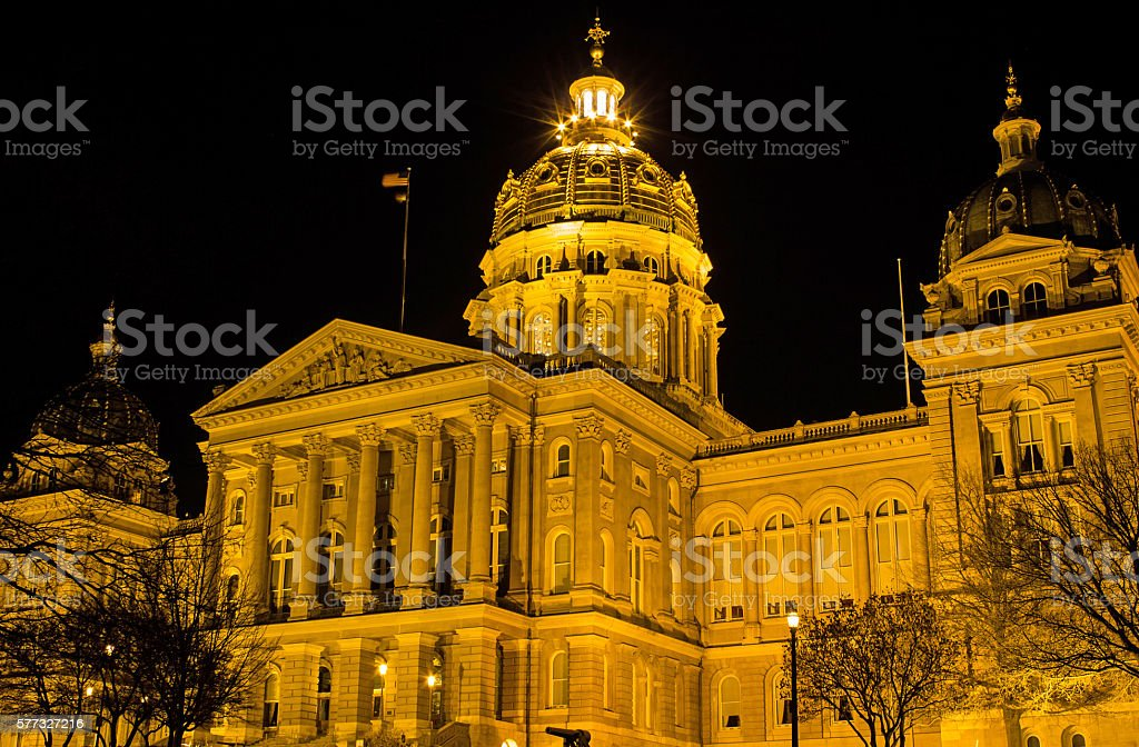 Iowa State Capitol Building Angled (Night) stock photo