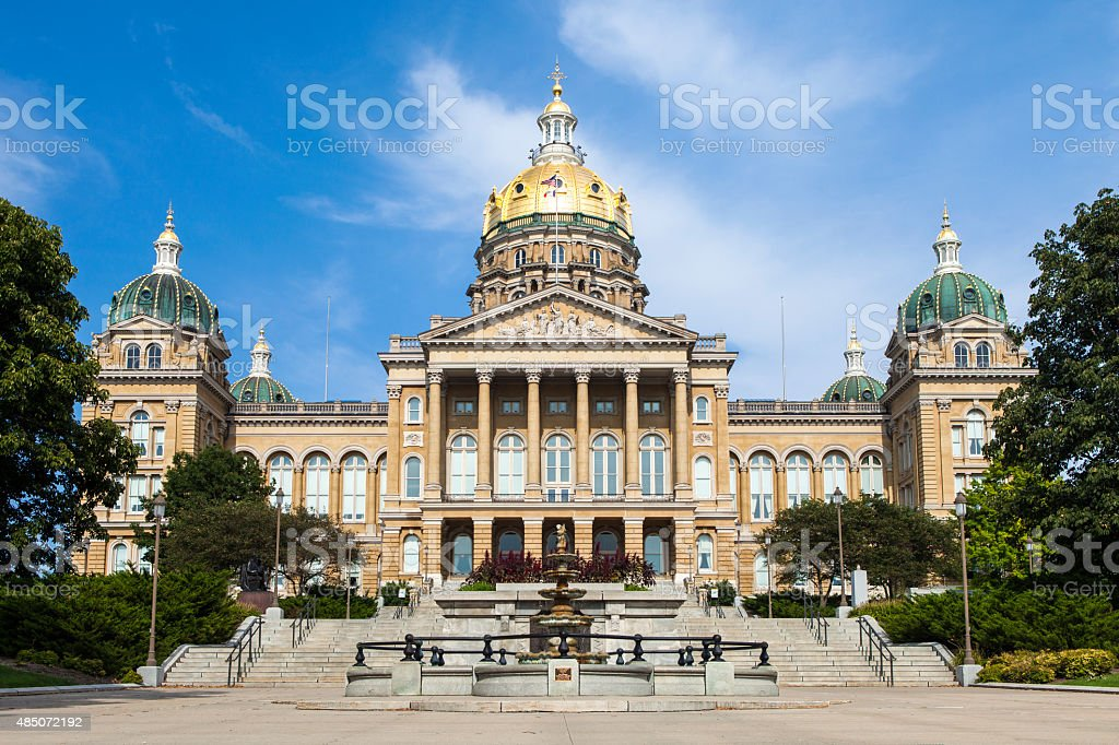 Iowa State Capitol In Des Moines stock photo