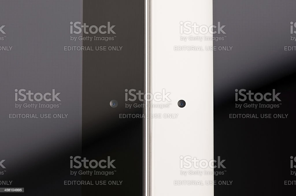 iPad 2 detailed look at front camera and microphone stock photo
