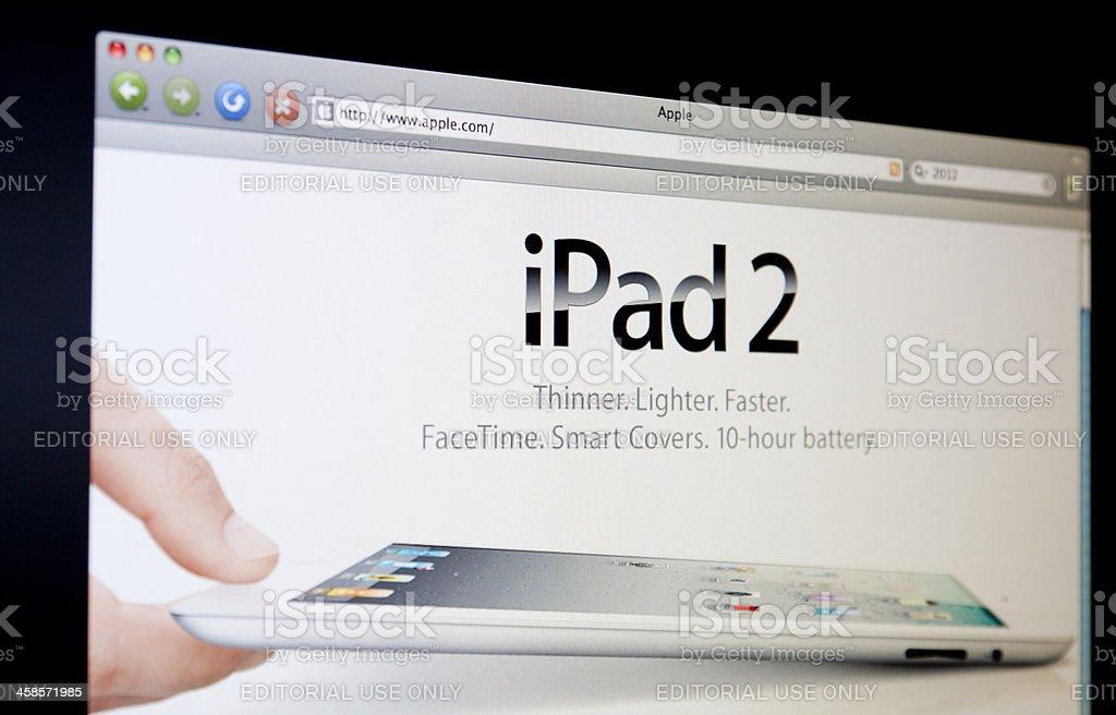 iPad 2 on Apple Website. royalty-free stock photo