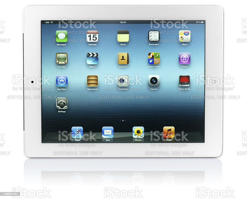 iPad 3 Wi-Fi + 4G with 2 Clipping Paths royalty-free stock photo