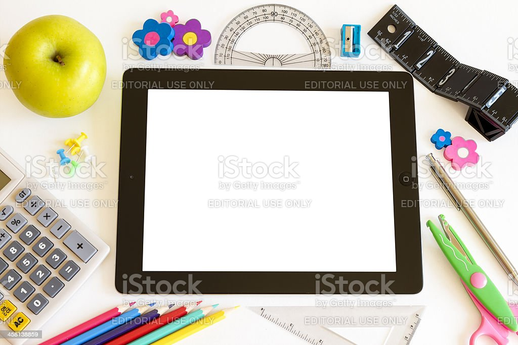 iPad 3 with blank screen and school accesories royalty-free stock photo
