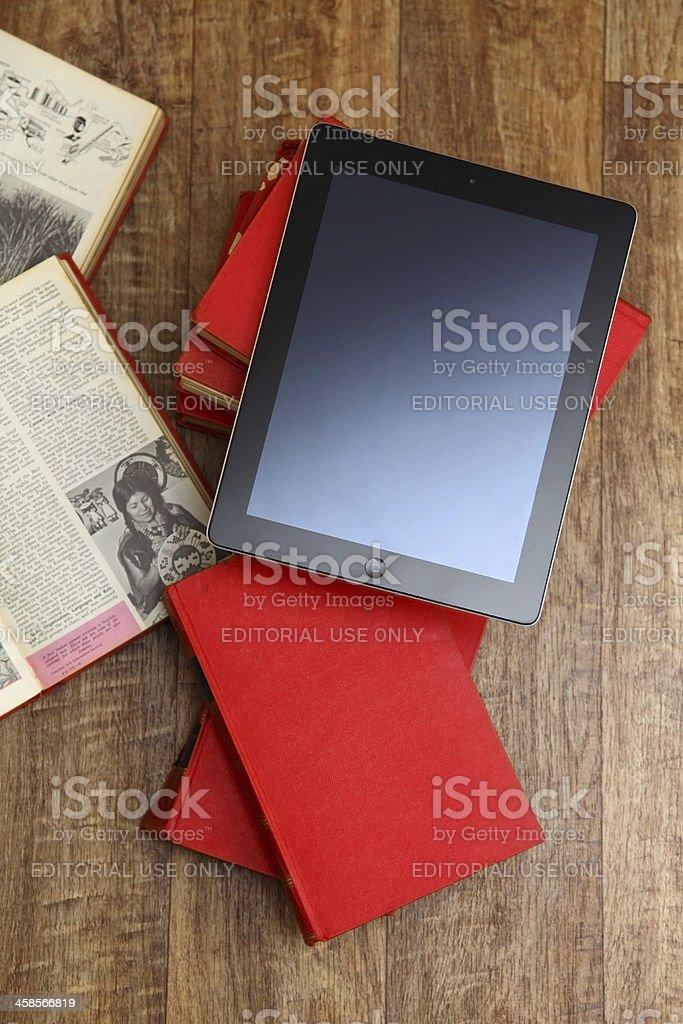 iPad and books royalty-free stock photo