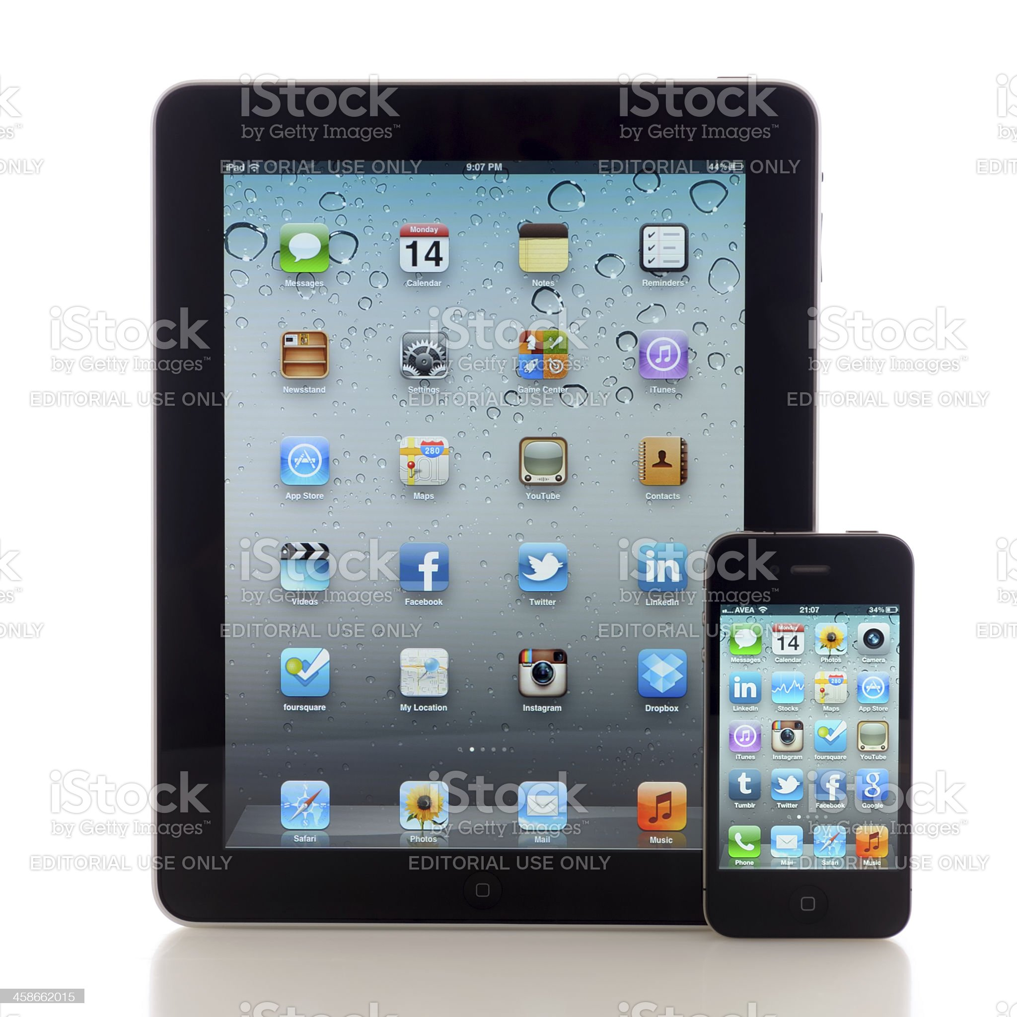 iPad and iPhone 4 royalty-free stock photo