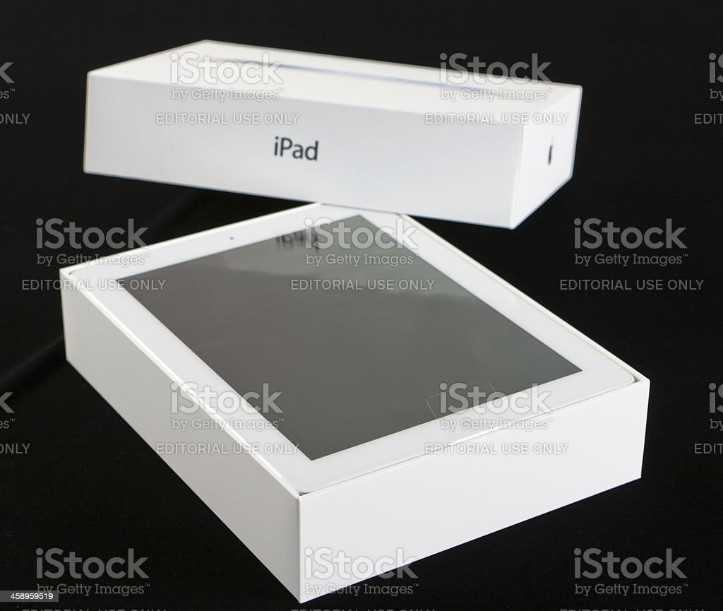 iPad box showing inner plastic protective layer stock photo