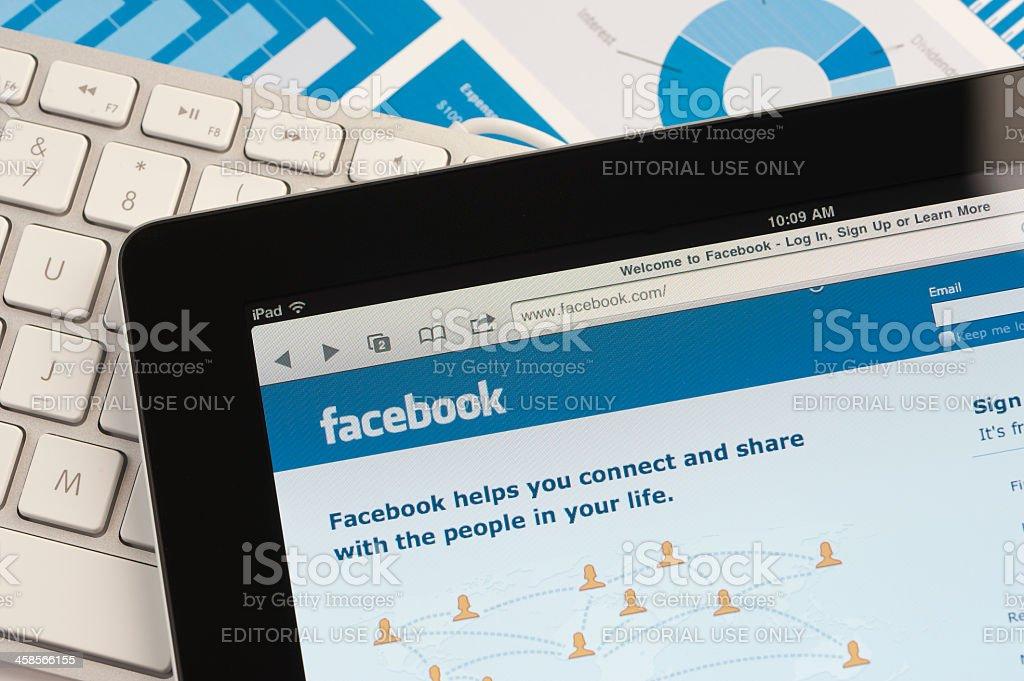 Ipad close-up showing Facebook stock photo