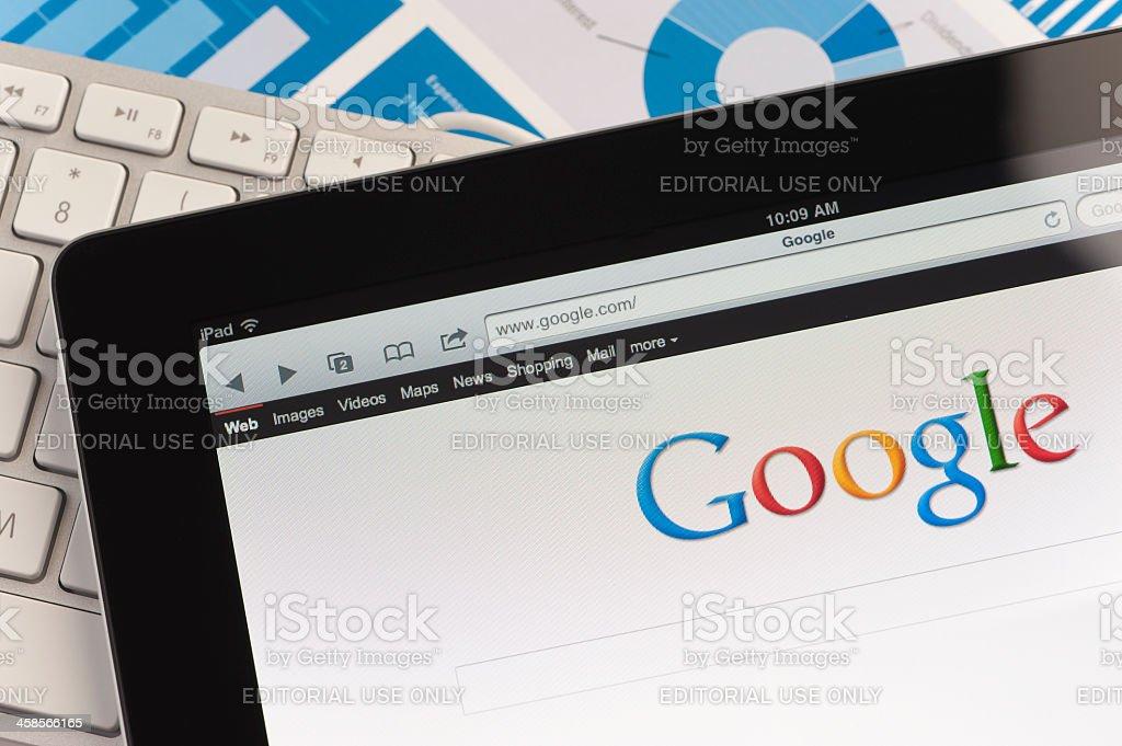 Ipad close-up showing Google stock photo