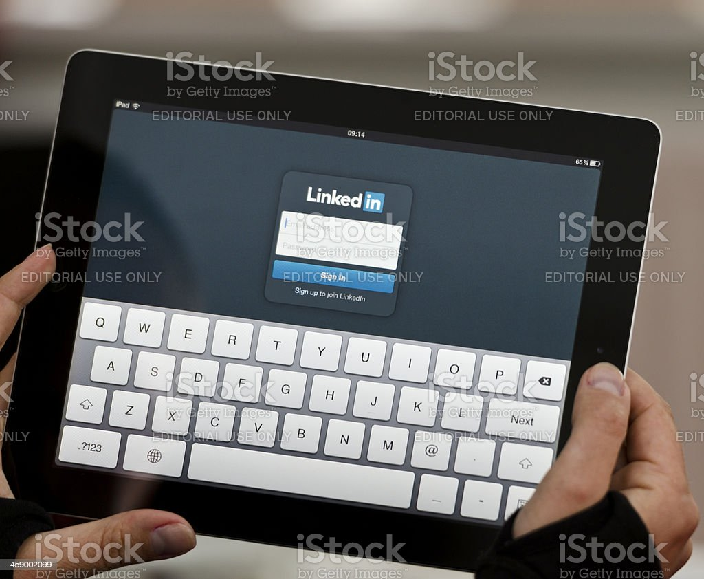 iPad device with Linkedin screen stock photo