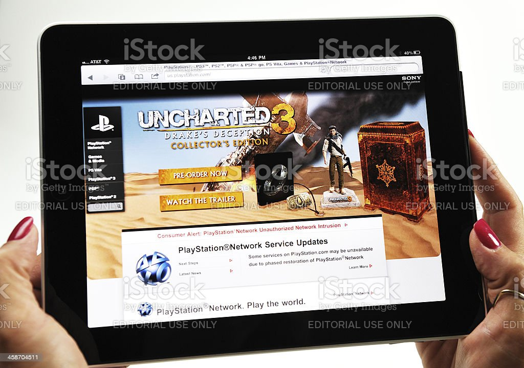 iPad Displaying a Sony Playstation Video Game royalty-free stock photo