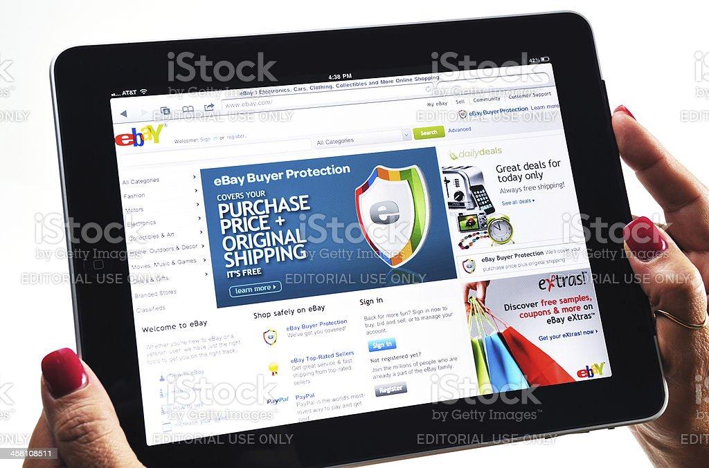 iPad Displaying Ebay Web Site royalty-free stock photo