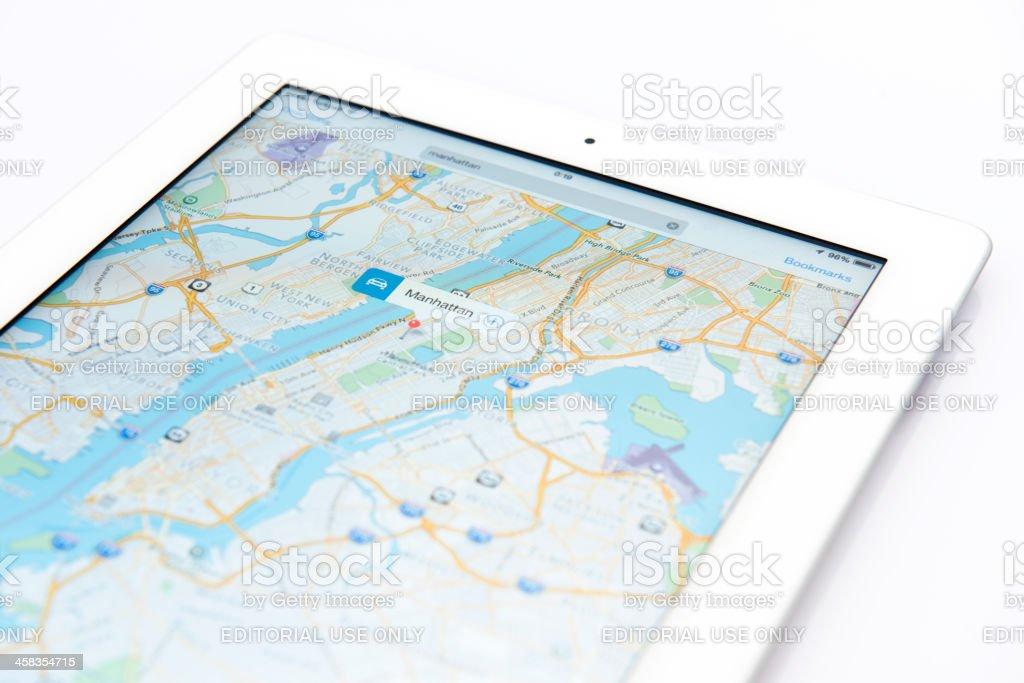 iPad displaying iOS 7 Maps application royalty-free stock photo