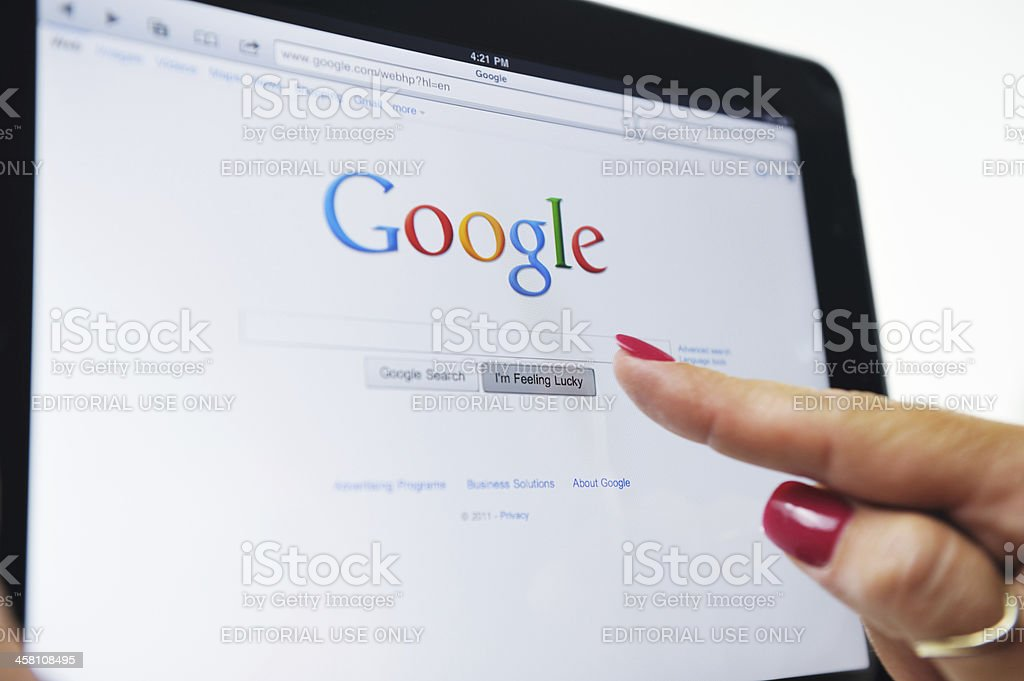 iPad Displaying The Google Web Site royalty-free stock photo