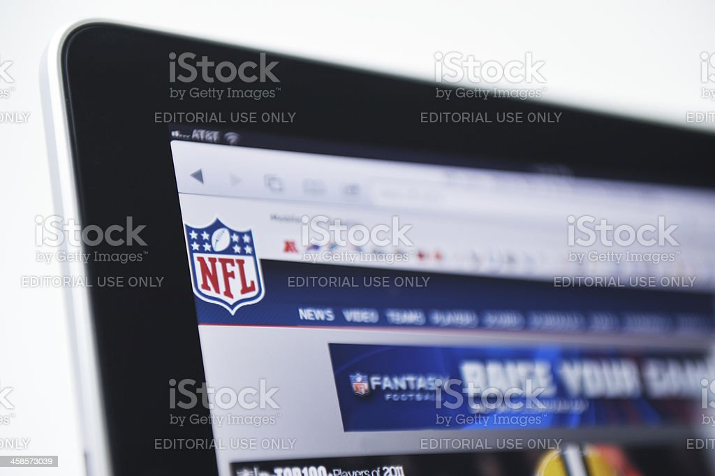 iPad Displaying the NFL Logo and Web Site stock photo