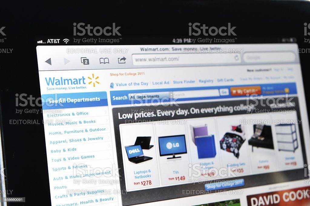iPad Displaying Walmart Web Site stock photo