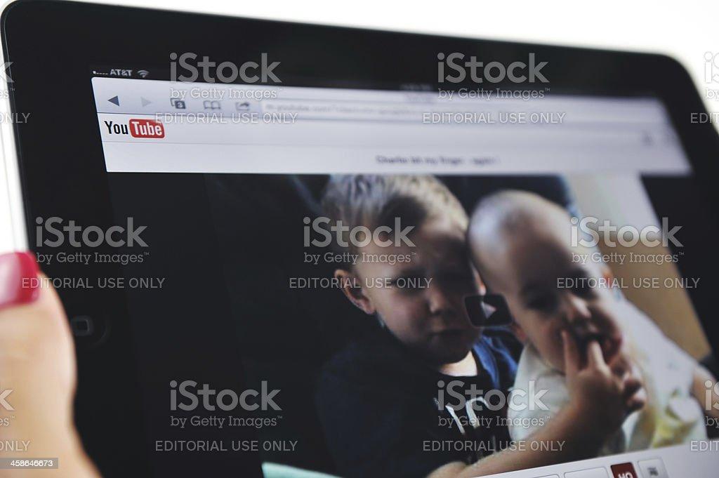 iPad Displaying YouTube and Charlie Video stock photo