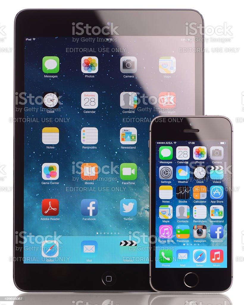 iPad Mini and iPhone 5s royalty-free stock photo