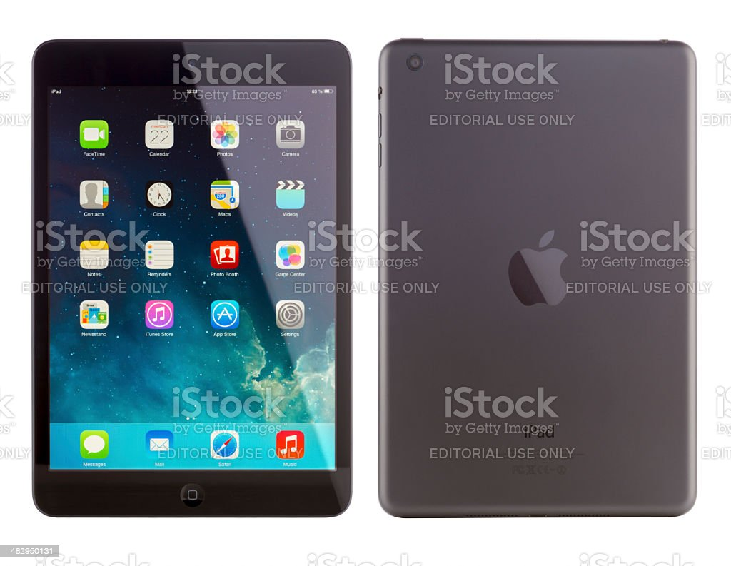 iPad mini front and back view stock photo
