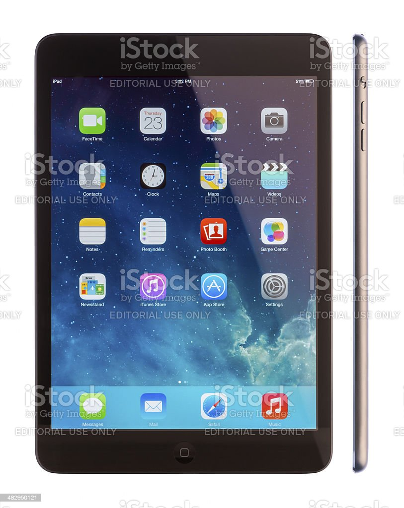 iPad mini front and side view royalty-free stock photo