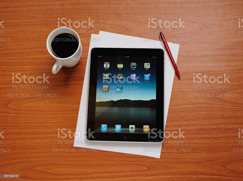 iPad on desk royalty-free stock photo