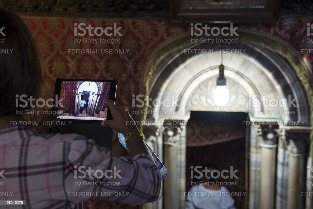 Ipad photograph at Church of the Nativity royalty-free stock photo