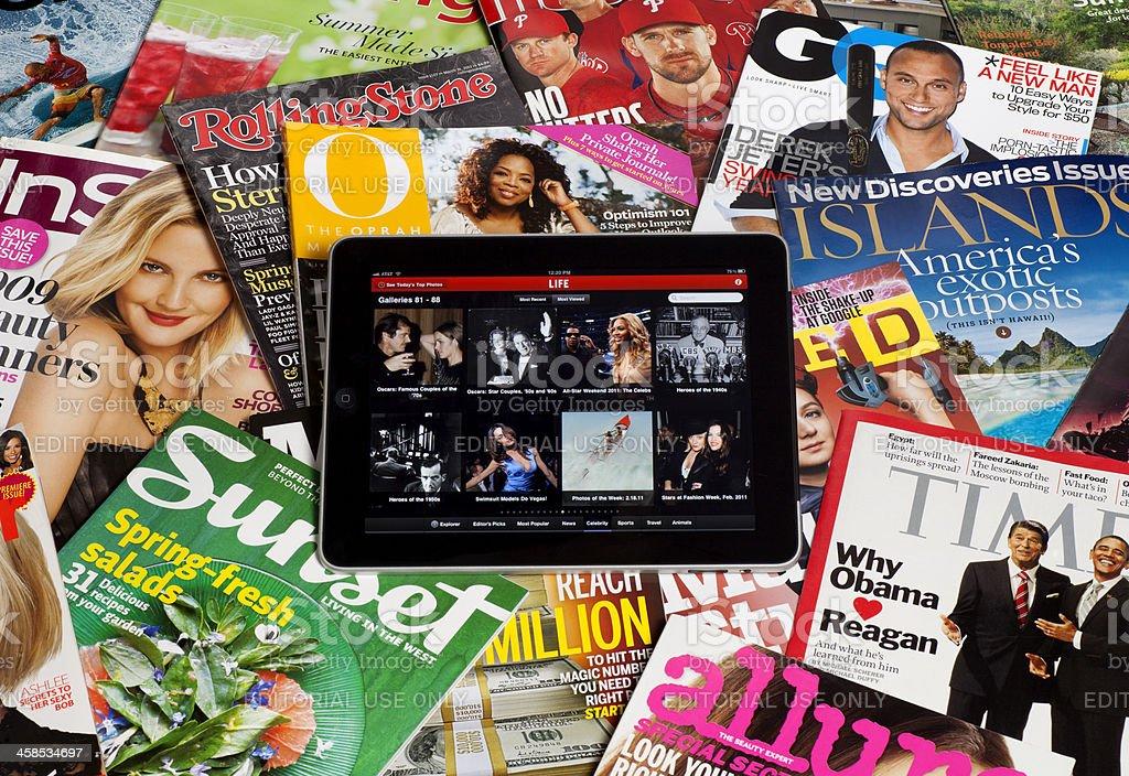 iPad with Magazines royalty-free stock photo