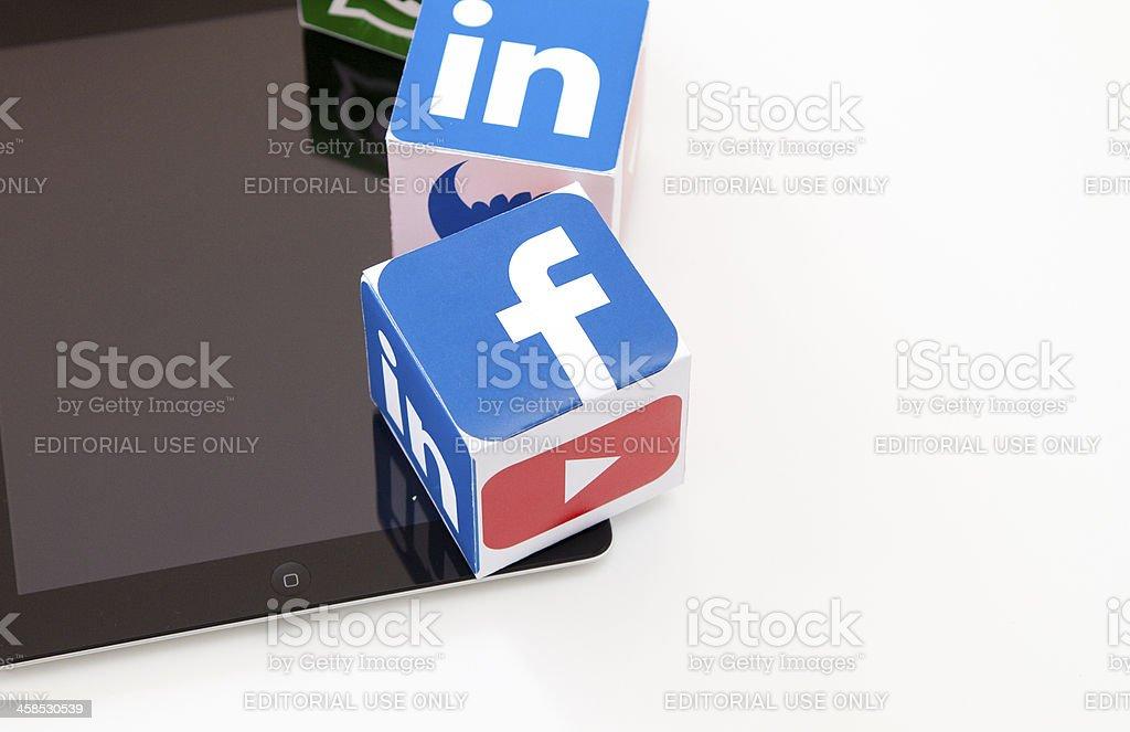 Ipad with social media icons royalty-free stock photo