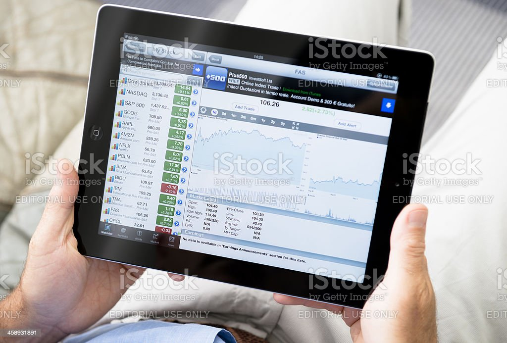 Ipad with stock market app - Finance application royalty-free stock photo