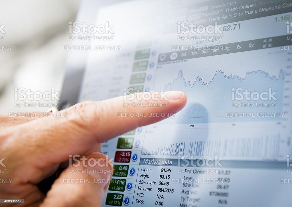 Ipad with stock market app - Finance application royalty-free stock photo