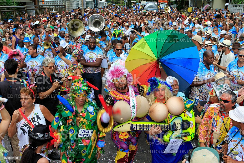 Banda de Ipanema parading in Rio royalty-free stock photo