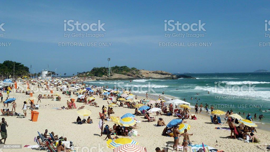 Ipanema Beach and Arpoador stone in Rio stock photo