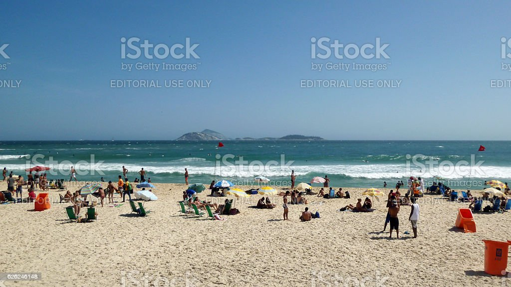 Ipanema Beach and Cagarras islands on horizon stock photo