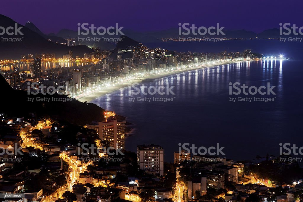 Ipanema Beach and Vidigal Favela in Rio royalty-free stock photo