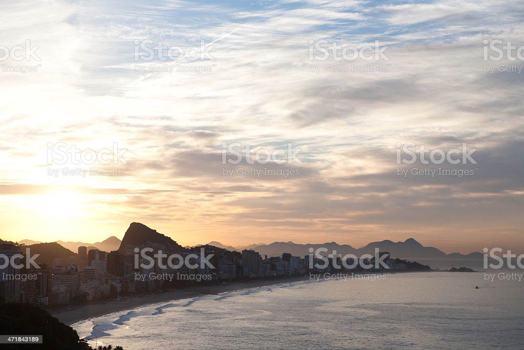 Ipanema Beach, Rio de Janeiro, Sunset royalty-free stock photo