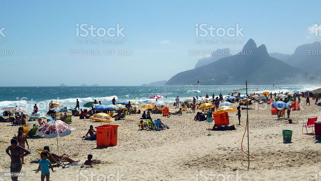 Ipanema Beach view with Dois Irmaos Mountains in Rio stock photo