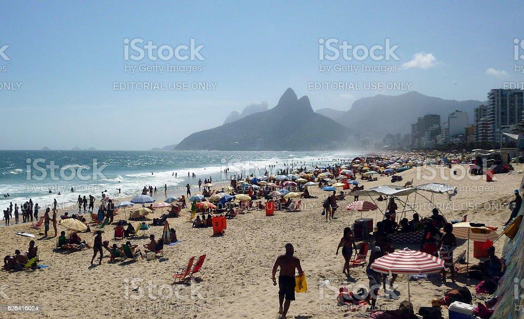 Ipanema Beach view with Dois Irmaos Mountains stock photo