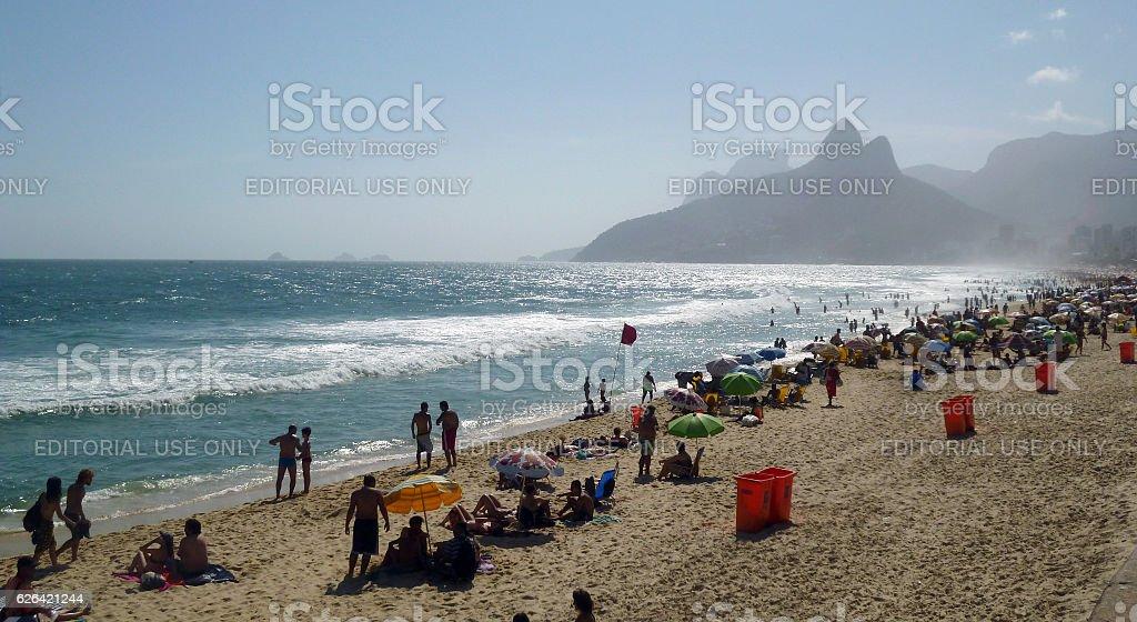 Ipanema Beach with Dois Irmaos Mountains in Rio stock photo