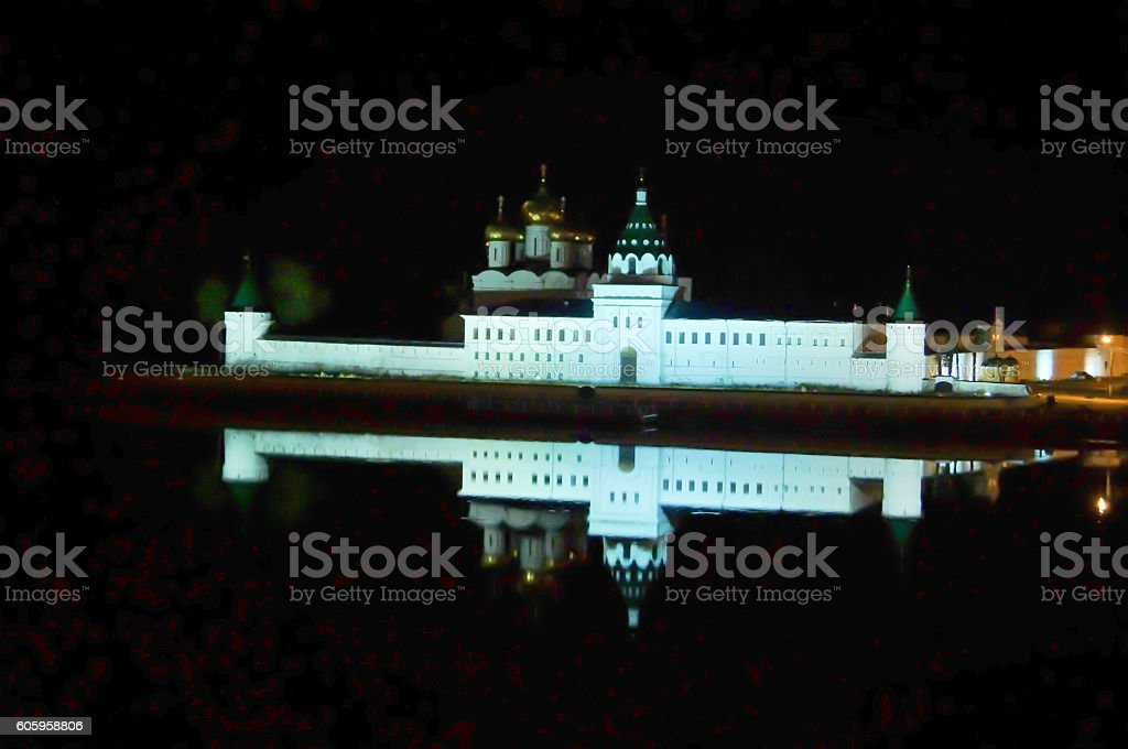 Ipatevsky monastery in the night Kostroma Russia stock photo