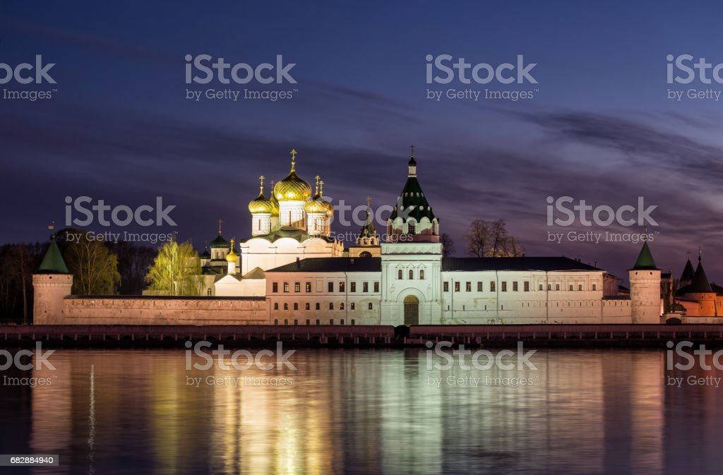 Ipatievsky monastery at night stock photo