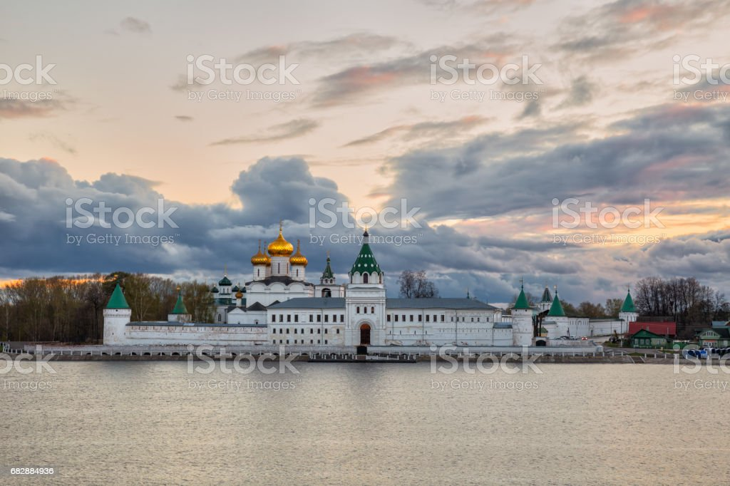 Ipatievsky monastery at sunset stock photo